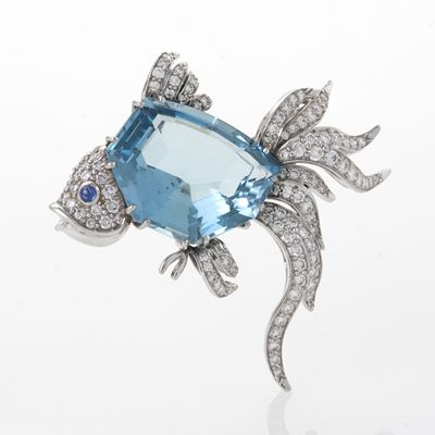 Kurt Wayne Diamond, Aquamarine and Sapphire Fish Brooch