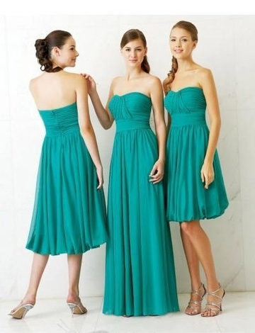 Strapless Neckline with Rouched Bodice and Column Shape Short or Long Bridesmaid Dress BM-0190