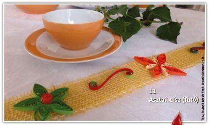 Asztali dísz (futó). Hangulatos dekoráció az ünnepi asztalon.
