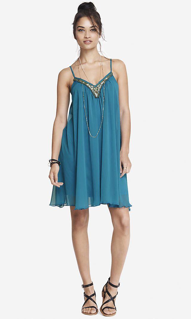 BEAD AND SEQUIN EMBELLISHED V-NECK TRAPEZE DRESS