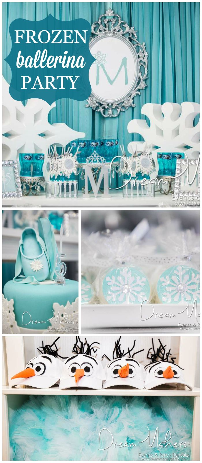 A winter Frozen ballerina themed girl birthday party with lots of snowflake details! See more party planning ideas at CatchMyParty.com!