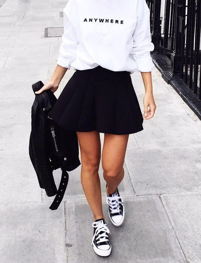 Jupe plissee, plus coton ouate noir et blanc balancia........victoria Törnegren) …