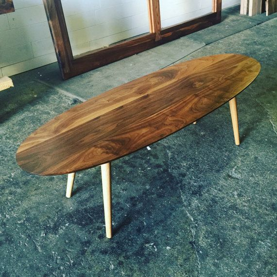 Valencia Walnut Mid Century Surfboard Coffee By Jeremiahcollection