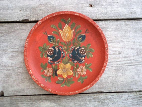 Vintage Wooden Wall Plate Round Orange Plate With Hand Painted Flowers Beautiful Wall Plate Vintage Wall Hand Painted Walls Wall Painting Vintage Wall Decor