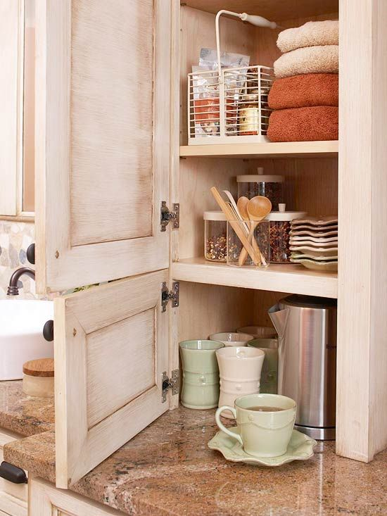 Perfect Master Bathroom Storage For Concealing A Brewing Station. Canisters  And Wire Baskets Organize Coffee