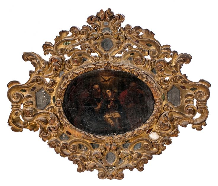 Escuela española del siglo XVII 17th Century Spanish school  The young Virgin with Saint Joachim and Saint Anne  Oil on canvas  With a carved and gold-plated wood frame and mirrors  70