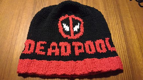 Deadpool Beanie - free knitting pattern by Julie Laffoon.