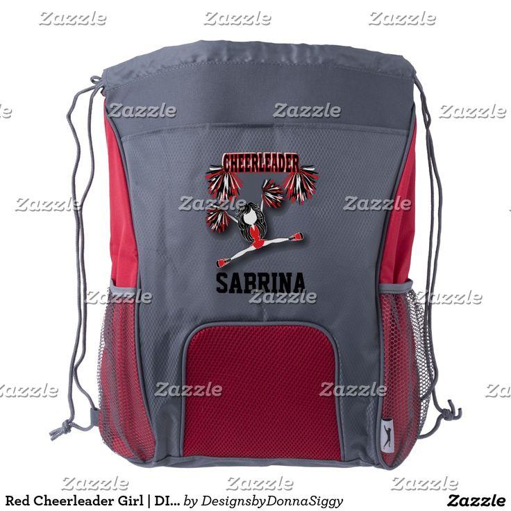 Red Cheerleader Girl | DIY Name Drawstring Backpack