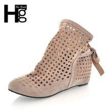HEE BÜYÜK Euro 34 ~ 43 Bahar Sonbahar Hollow Out Delikli Kadın Çizmeler Ayak Bileği Çizme İç Kama Kadın Ayakkabı Artı boyutu XWX092(China (Mainland))