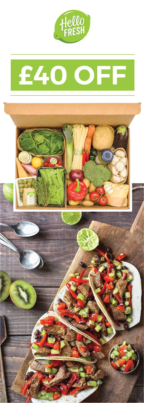 Introducing a fresh take on dinnertime for 2017! Let HelloFresh bring the spark back to your meals! ➜ Use code HELLOPIN40 at checkout to get £20 off both your first and second box! End date: 03/30