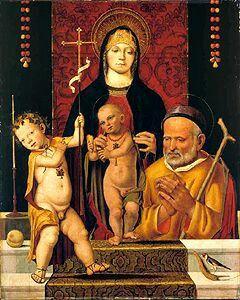 ANTONIO LEONELLI DA CREVALCORE (DOK. ZWISCHEN 1478–1513) »HL.FAMILIE MIT DEM JOHANNESKNABEN«