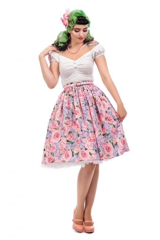 Collectif Vintage Jasmine Country Garden Swing Skirt