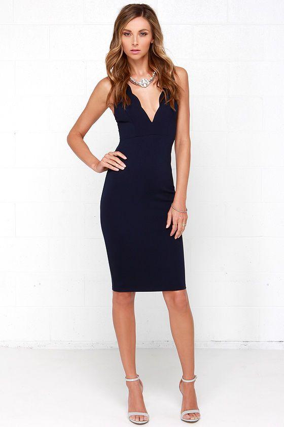 Work Of Heart Midi Navy Blue Bodycon Dress