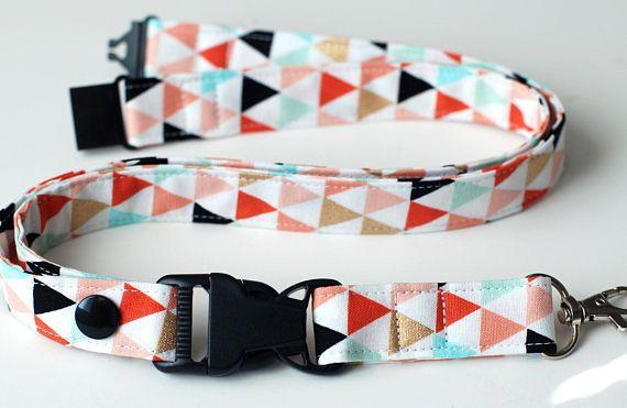 Detachable Lanyard Tribal Triangles Fabric Lanyard