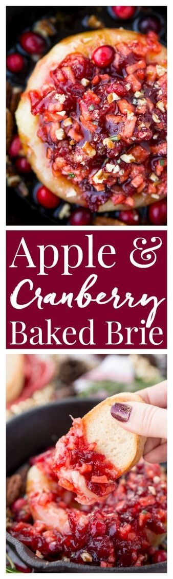 Apple Cranberry Baked Brie is a delicious cheese appetizer loaded with brown sugar, maple syrup, pecans, and an apple cranberry compote. via @sugarandsoulco