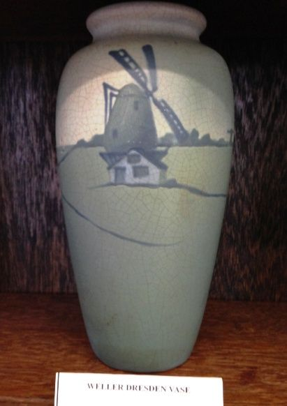 Weller Pottery vase with Dresden pattern, circa 1905. Weller Pottery was founded by Samuel Weller in Fultonham, Ohio, United States in 1872.