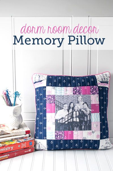 DIY Dorm Room Decor, Photo Memory Pillow Tutorial - how to make a pillow with a photograph on it. A great graduation gift idea for someone headed off to college!