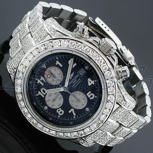 Breitling on ice! Breitling Chronometre 1884 Mens Diamond Watch 21.95 Ctw