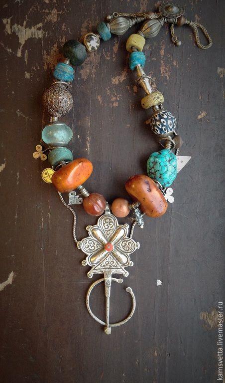 Купить Бусы ВЕТЕР САХАРЫ - разноцветный, мозаика, африканский, этнический, бирюза, янтарь, образ, туареги