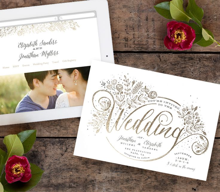 Matching Wedding Wedding Website And Gold Foil Wedding Invitation From  @minted