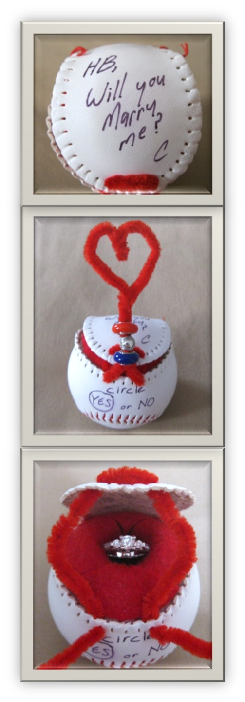 My fiance's creative proposal... our first date was a Reds baseball game