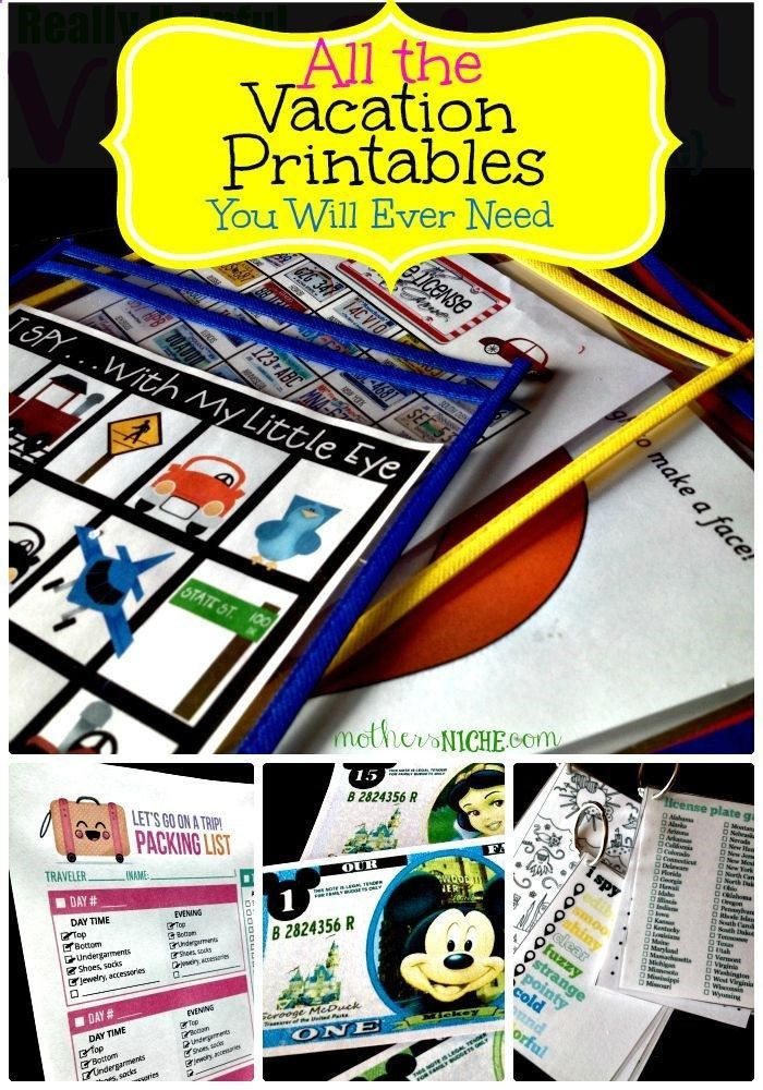 All the Travel Printables you will ever need: packing list, incentives, luggage tags, and activities for the kids (including lots of Disney items)
