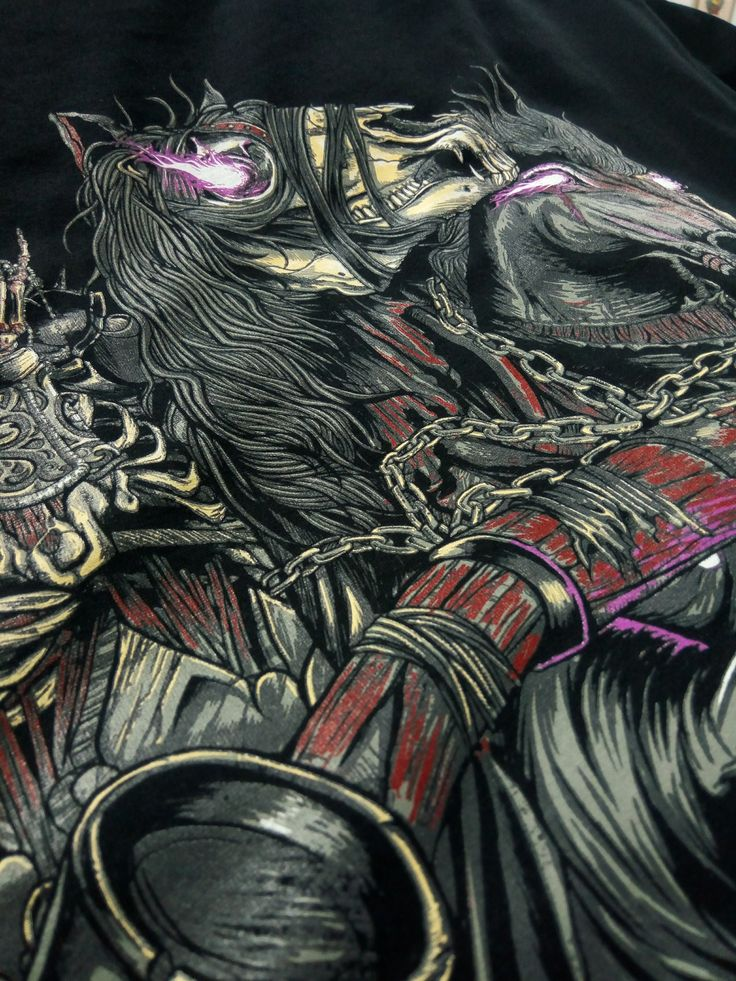 #Screenprinting amazing details of #DarkSouls on black garments with The M&R Companies #silkscreen technology and Wilflex™ Screen Printing Inks - PolyOne Showcase Page http://bit.ly/1LPZppD