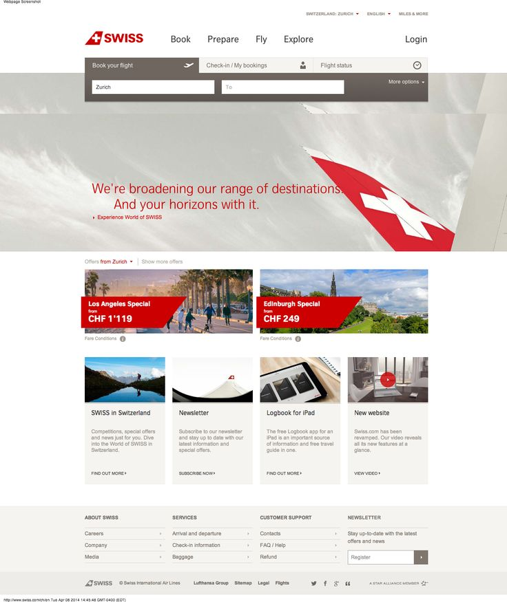 Classic Swiss style on the swiss airline website #webdesign #swiss #inspiration