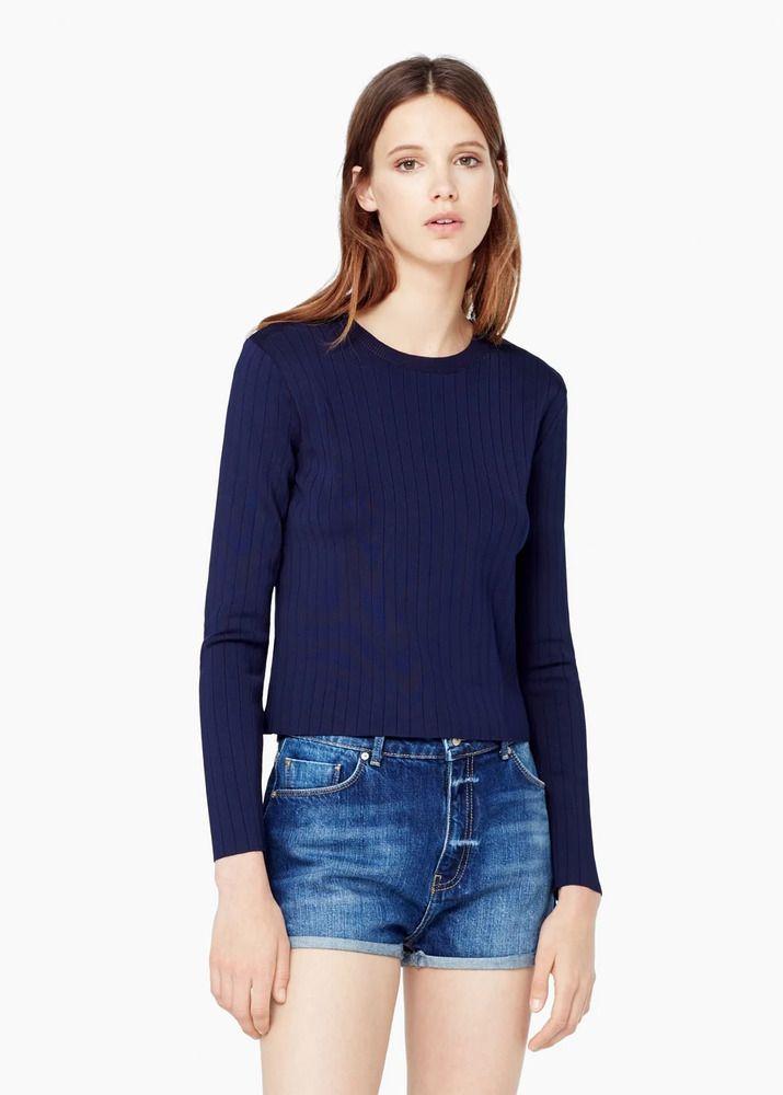 Mango Fine knit Sweater Navy Size S UK 8 rrp 34.99 DH172