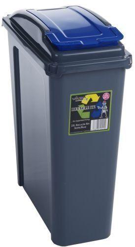 25L Slimline Recycle Kitchen Waste Bin 25 Litre Plastic Storage Bin With Blue Lid By HotDeals-UK