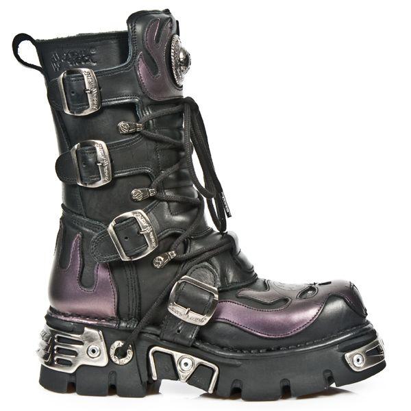 NEW ROCK Stiefel Boots Gothic schwarz/blau M.107-C5 30 Tage