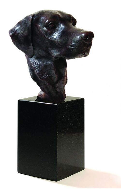 Bronze Domestic Animal #sculpture by #sculptor David Cemmick titled: 'Old Faithful- labrador head' #art