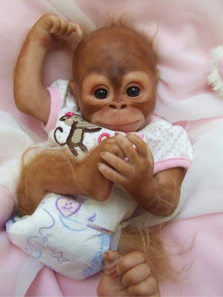 Reborn OOAK Baby Orangutan Monkey Girl Emma Denise Pratt Bindi Kit