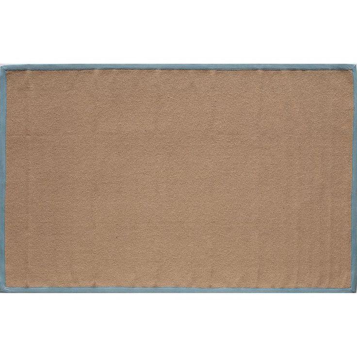 Rugs America Classic Coir Framed Solid Rug, Blue