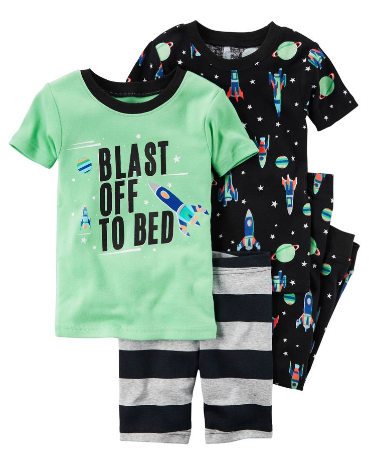 In coordinating prints, this 4-piece set includes two tops, pants and shorts that can be mixed and matched for a variety of comfy bedtime options! Carter's cotton PJs are not flame resistant. But don't worry! They're designed with a snug and stretchy fit for safety and comfort.