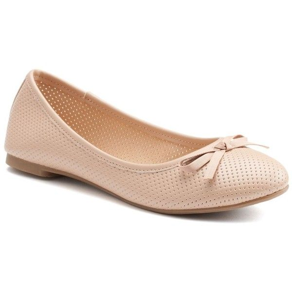 SO® Women's Bow Ballet Flats ($17) ❤ liked on Polyvore featuring shoes, flats, nude, bow flats, flat shoes, slip-on shoes, ballet flat shoes and flat pumps