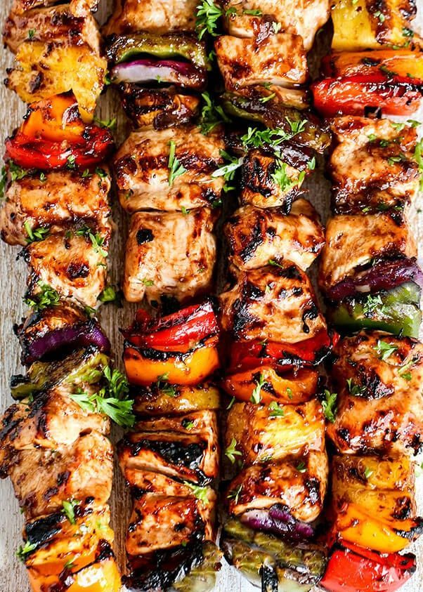 As we continue on our grilling journey… ok, that sounds weird. I just wanted to share an easy kabob recipe since this pretty much sums up our friday night dinners because THEY ARE SO GOOD! I hope you enjoy this recipe! Photo by Spend with Pennies serves 8 skewers | prep time 30 | total time 45 Ingredients * Marinate chicken (or steak of you want, but for the recipe we'll choose chicken) overnight in your favorite BBQ sauce * 1/2 pineapple cut into chunks * 4 large ...