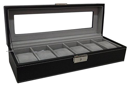 Watch-Box-6-Mens-Black-Leather-Display-Glass-Top-Jewelry-Case-Organizer-0