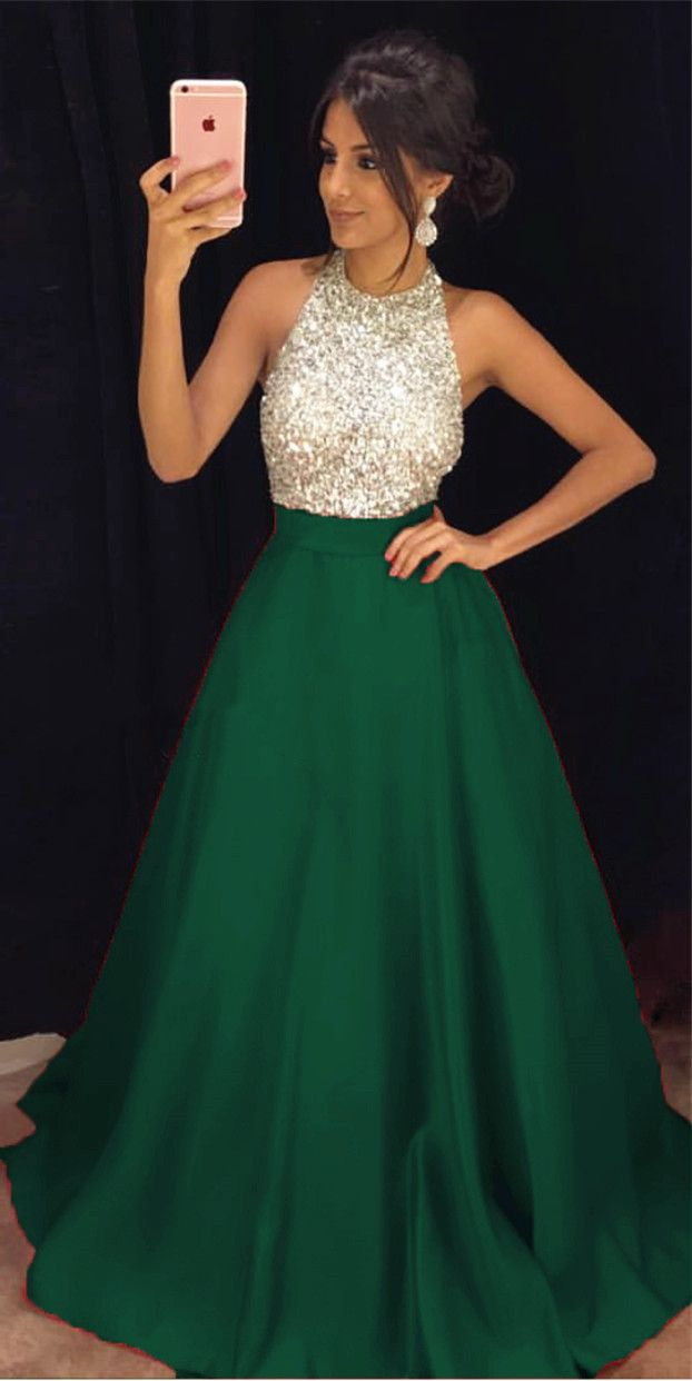 Green A-line Prom Dresses Long, Prom Dress, Evening Dresses, Formal Dresses, Graduation Party Dresses, Banquet Gown