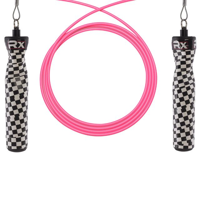 Rx Jump Ropes are custom-made cable ropes that use an industrial-grade multidirectional swivel axis system to produce a nearly frictionless rotation.