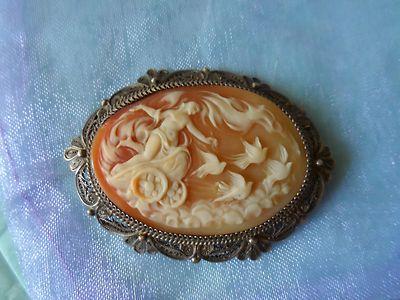 Gorgeous Antique Shell Cameo Brooch Aphrodite w Dove Drawn Chariot Sky Scene | eBay