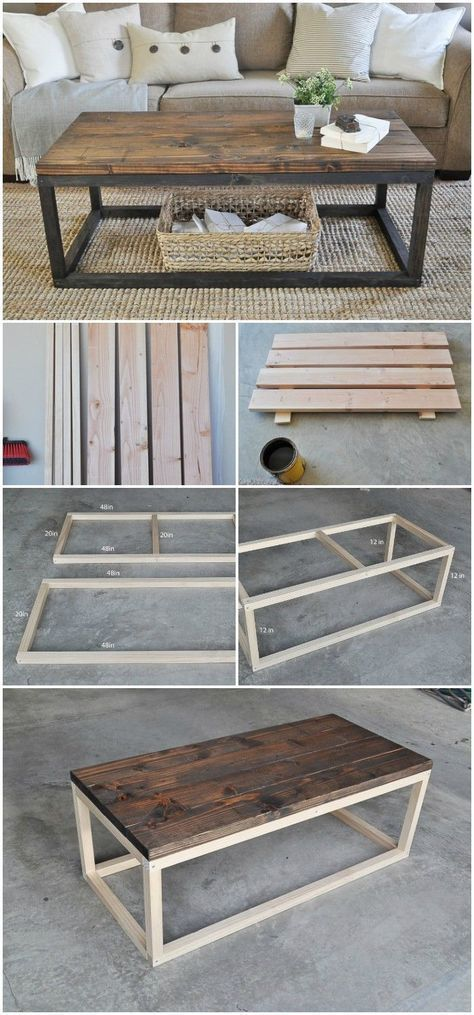 cheap DIY projects for home decoration.That will prove very beneficial to build up a well-decorated home.Industrial Wooden Coffee Table #coffeetables