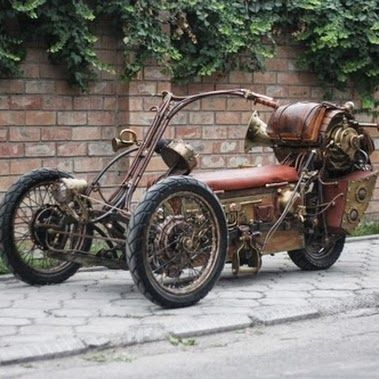 A steampunk motorcycle.