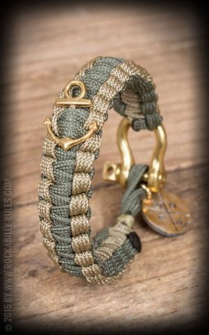 Dedicated O - Segeltau Armband - Oliv mit Anker