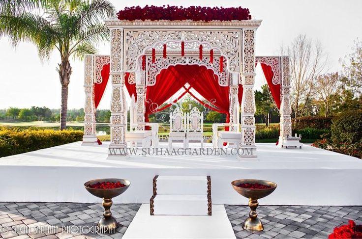 Suhaag Garden, Indian Wedding decorator, Florida wedding decorator, Mandap, red and white mandap, outdoor mandap