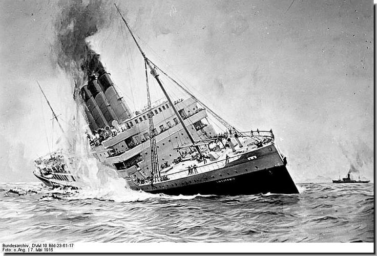 "The Great War: The last photo of the sinking RMS ""Lusitania"". The New York-bound liner sank off the Irish coast in 18 minutes. The Lusitania was torpedoed by German U-boat U-20 on Friday 7 May 1915. The wreck lies about 11 miles off the Old Head of Kinsale Lighthouse, County Cork, Ireland, in 300 ft of water. 1,198 people were killed. #WWI"