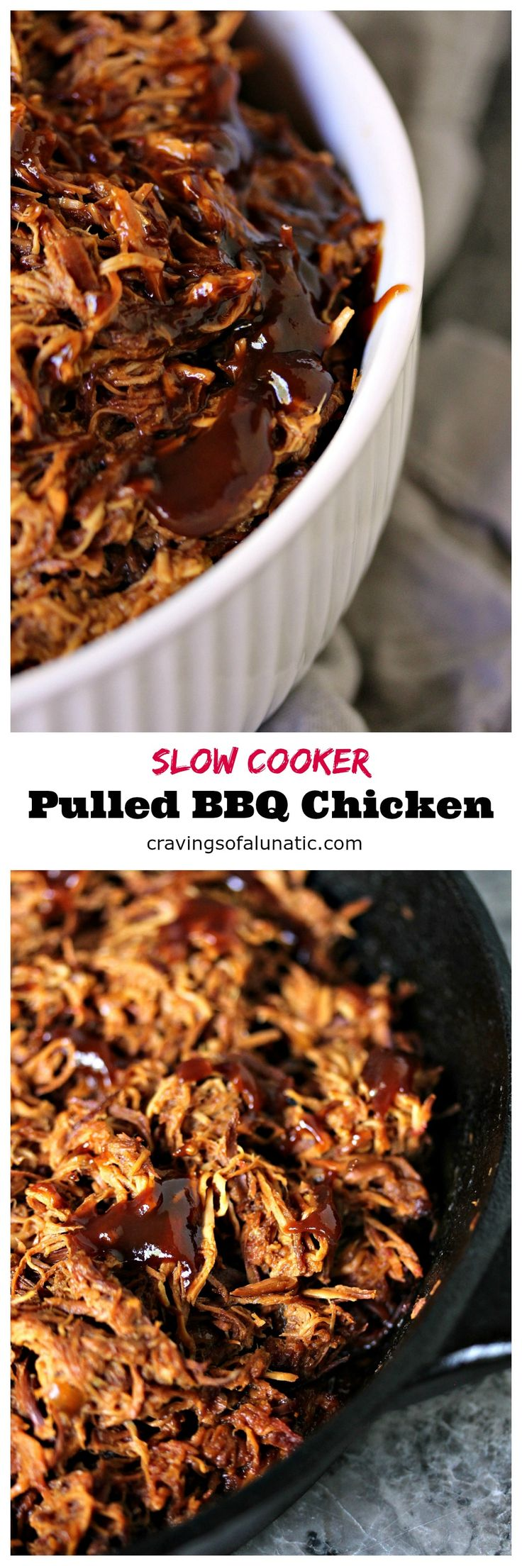 """Slow Cooker Pulled BBQ Chicken from cravingsofalunatic.com- This easy recipe for pulled BBQ chicken is made in the slow cooker with just a few ingredients. It's a great """"set it and forget it"""" recipe. Eat it plain, or pile it high on a slider bun! (@CravingsLunatic)"""