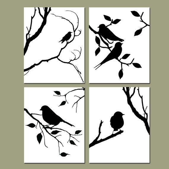 Birds of a Feather Wall Art Quad – Set of Four 8×10 Coordinating Nature Prints – CHOOSE YOUR COLORS – Shown in Black and White
