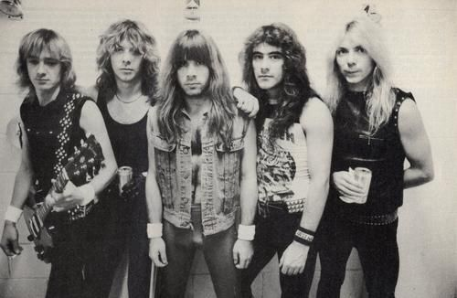 """Iron Maiden: Lineup circa """"Number of the Beast"""" Adrian Smith (guitars), Clive Burr (drums), Bruce Dickinson (vocals), Steve Harris (bass), Dave Murray (guitars)"""