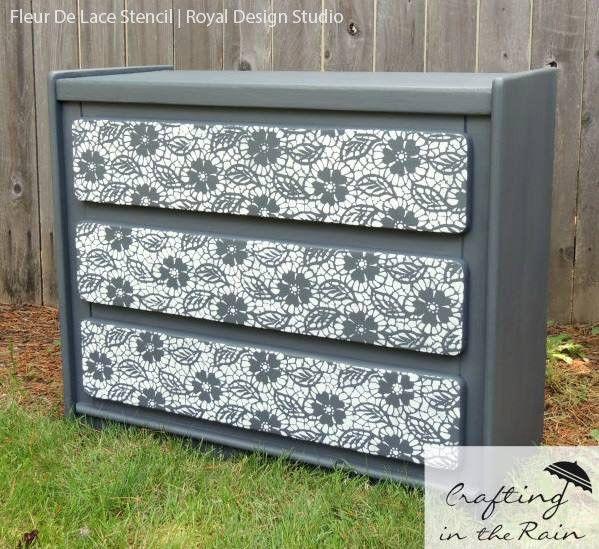 For living room over couches Fleur de Lace Furniture Stencil | Royal Design Studio
